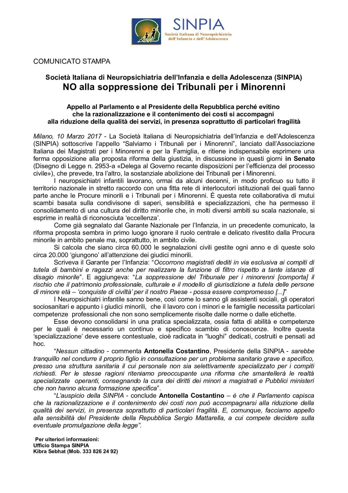 CS SINPIA NO all abolizione dei Tribunali minorili 000