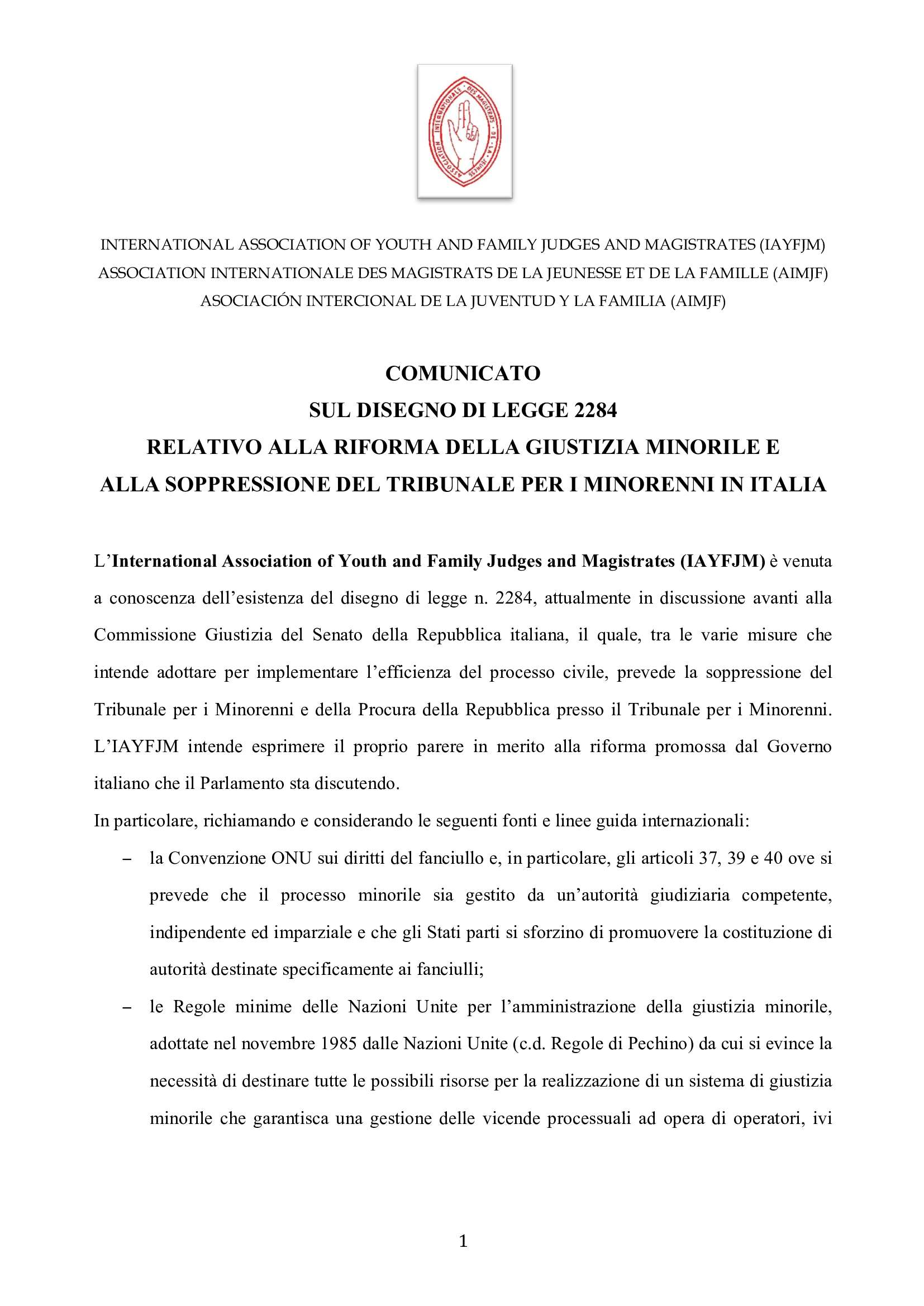 IAYFJM Statement on the Italian Juvenile Justice R 000