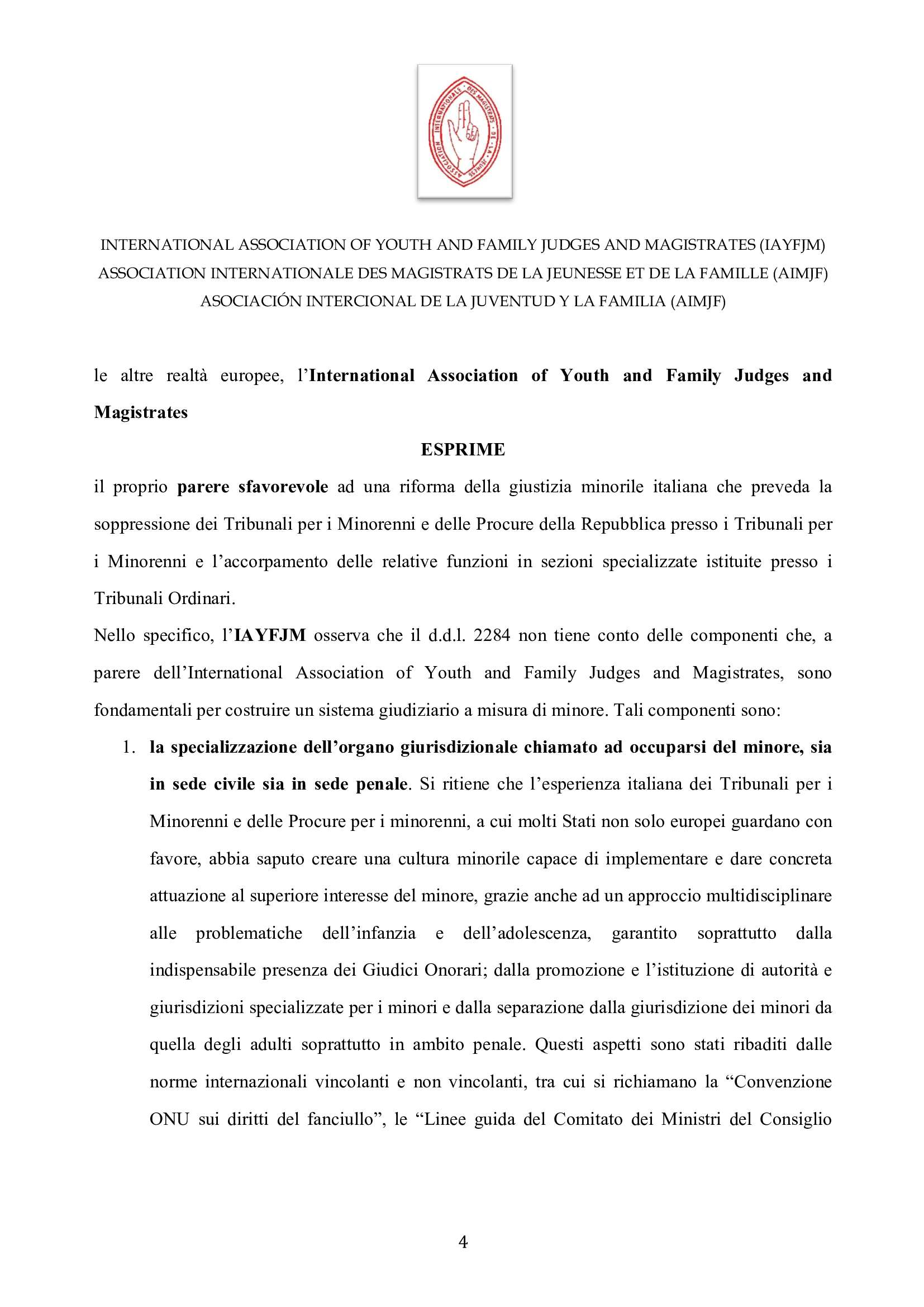 IAYFJM Statement on the Italian Juvenile Justice R 003